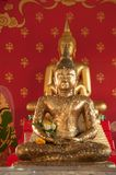 Old buddha golden sitting. In temple Royalty Free Stock Photos