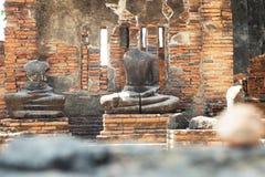Old Buddha image and ruin in Ayutthaya Royalty Free Stock Photo