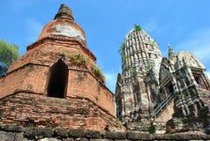 Old Buddha Pagodas on blue sky background Stock Photos