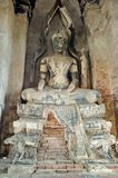 The old Buddha statue in a Ayuthaya royalty free stock images