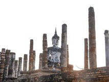 Old buddha statue in church Sukhothai Stock Photos