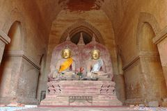 The old Buddha statue in old pagoda temple in Bagan,Myanmar Royalty Free Stock Images