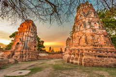Old Buddha Statue and Old Temple Architecture Royalty Free Stock Photos
