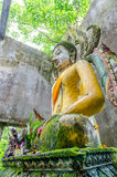 Old Buddha statue in somdej temple, Sangkhla Buri Stock Photo