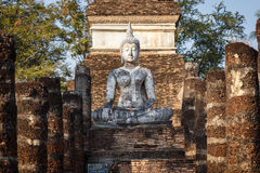 Old buddha statue in Sukhothai Historical Park Royalty Free Stock Photo