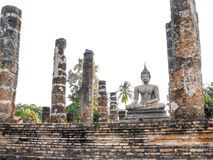 Old buddha statue Sukhothai. 800 year old Buddha statues made ​​of plaster northern of Thailand Royalty Free Stock Photo