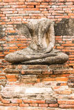 Old Buddha Statue at Wat Chaiwatthanaram Ayutthaya ,Thailand Royalty Free Stock Images