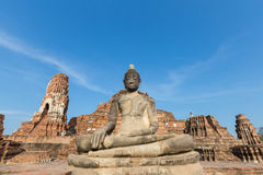 Old buddha  statue at Wat Mahathat in Ayutthaya province Thailand Royalty Free Stock Photo