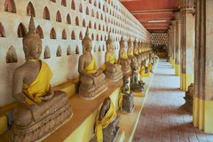 Old Buddha statues in Wat Si Saket temple in Vientiane, Laos. stock image