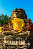 Old Buddha Status at wat yai chaimongkol temple ayutthaya thaila Stock Photography
