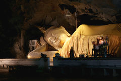 Old Buddha in temple of religion buddhist. Royalty Free Stock Photo