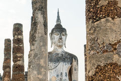 Old buddha in the temple at Sukhothai Historical Park Royalty Free Stock Photo