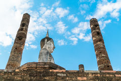 Old buddha in the temple at Sukhothai Historical Park Royalty Free Stock Photos
