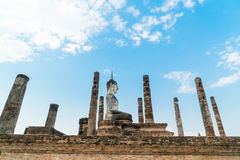 Old buddha in the temple at Sukhothai Historical Park Royalty Free Stock Photography
