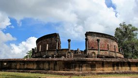 Old buddhism temple historic site. Ruins ancient historic site of buddhism highest made of stone laterite brick. in island country Sri Lanka Stock Image