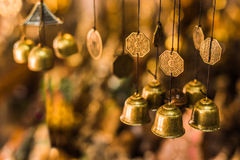 Old buddhist Antique brass bell Stock Photos
