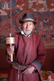 An old buddhist male devotee in Leh,Ladakh,India Royalty Free Stock Photography