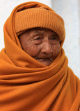 Old Buddhist monk. In front of a monastery in Nyaungshwe, Myanmar Royalty Free Stock Photos