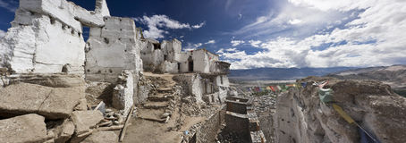 Old buddhist Palace (monastery) from Leh, India. Panoramic view of a very old buddhist monastery named Leh Palace from Ladakh, India. (The Palace was first built Royalty Free Stock Photography