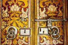 Old buddhist temple door in sri lanka Royalty Free Stock Image