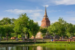 Old Buddhist temple in Sukhothai historical park Thailand. Royalty Free Stock Images