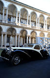 Old Bugatti car models exposed in Milan Brera Art Academy court. Royalty Free Stock Image