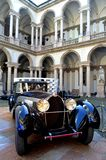 Old Bugatti cars exposed in Milan Brera Art Academy court. Stock Photography