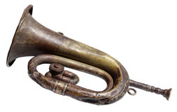 Old Bugle. Very old and rusty bugle isolated on a white background Stock Images