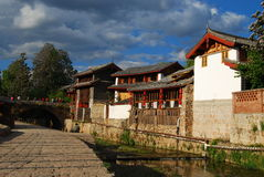 Old buiding in China. The street made from stone, in a old small village of China, with bulding traditional style  lijiang, yunnan Stock Images