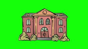 Old building appears and pulse cartoon animation isolated on green screen