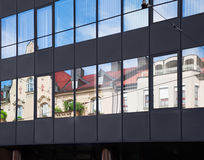 Old building architecture reflected in modern building Royalty Free Stock Photos