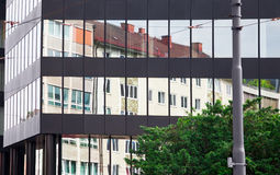 Old building architecture reflected in modern building Royalty Free Stock Photography