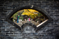 Old building at autumn. This is the Chinese style old building, Tourists take photos in the following Ginkgo trees, in JINCI Temple, shanxi china.  October 20th Royalty Free Stock Image