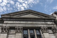 The old building of the Bank of Montreal Quebec City cloudy sky in Canada royalty free stock photography