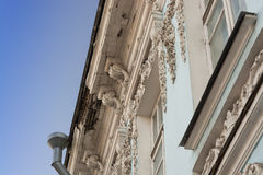 Old building with bas-reliefs and moldings in Yaroslavl Royalty Free Stock Images