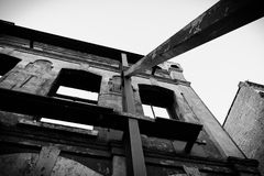 Steel holding up building. An old building being held up by steel supports Stock Photography