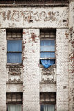 Old building and blue curtain Stock Images