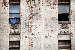 Old building and blue curtain Royalty Free Stock Photos