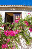 Old building with bougainvilla flowers. In Portugal Royalty Free Stock Image