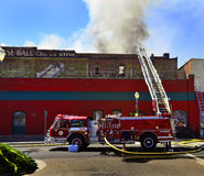 Old Building Burning Fire Engine Smoke Royalty Free Stock Photo