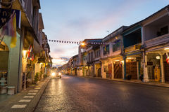 Old building Chino Portuguese style in Phuket on December 24, 2015 in Phuket, Thailand. Old buildings area is a very famous touris Stock Images