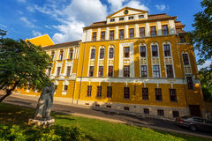 Old building in city Pecs of Hungary, High Scool Loewey Klara Stock Photography
