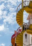 Old building colorful staircase view from bottom royalty free stock image