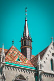 Old building of European church, Hungary. Budapest. Matthias Church, the symbol of the Old Buda Royalty Free Stock Photo