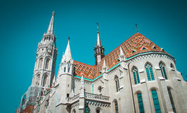 Old building of European church, Hungary. Budapest. Matthias Church, the symbol of the Old Buda Royalty Free Stock Photography