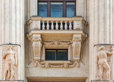 Old building exterior with balcony and columns in Budapest, Hungary. Stock Images