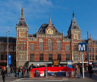 Old Building f Central Station in Amsterdam Stock Images