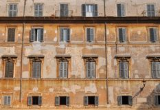 Old building facade. With windows in row Royalty Free Stock Images