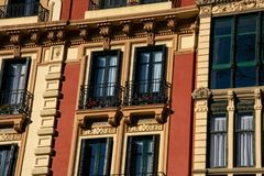 Old building facade and balconies. Bilbao, Spain royalty free stock photos