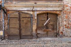 Old building facade in the center of Torun. Old wooden building facade in the center of Torun, Poland Royalty Free Stock Image
